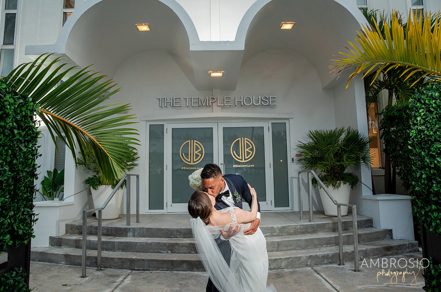 bride and groom embrace after their Temple House Wedding