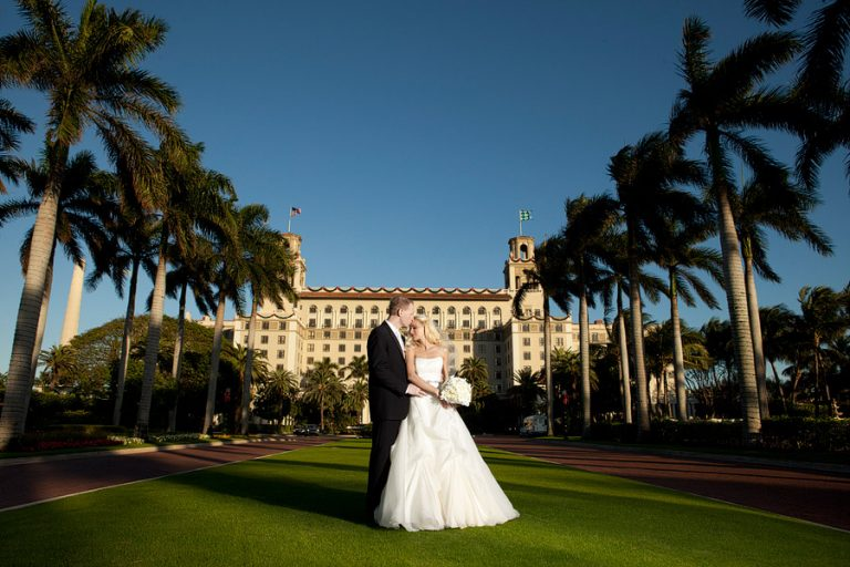 A wedding portrait in front of the Breakers in Palm Beach.