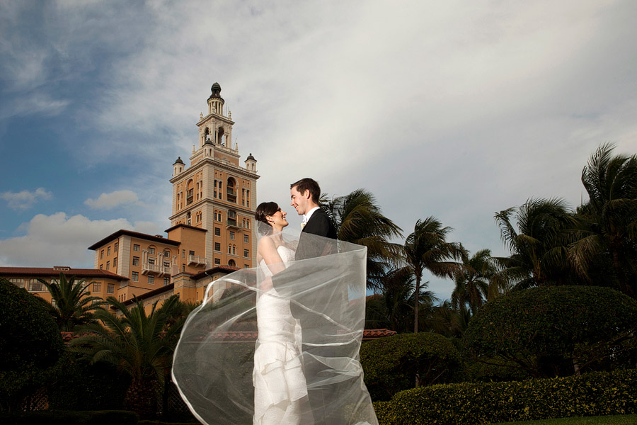 Veil blowing in the wind with the Biltmore Hotel in the background.