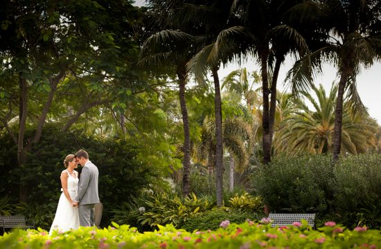 Wedding portraits on the front lawn at the Breakers hotel in Palm Beach.