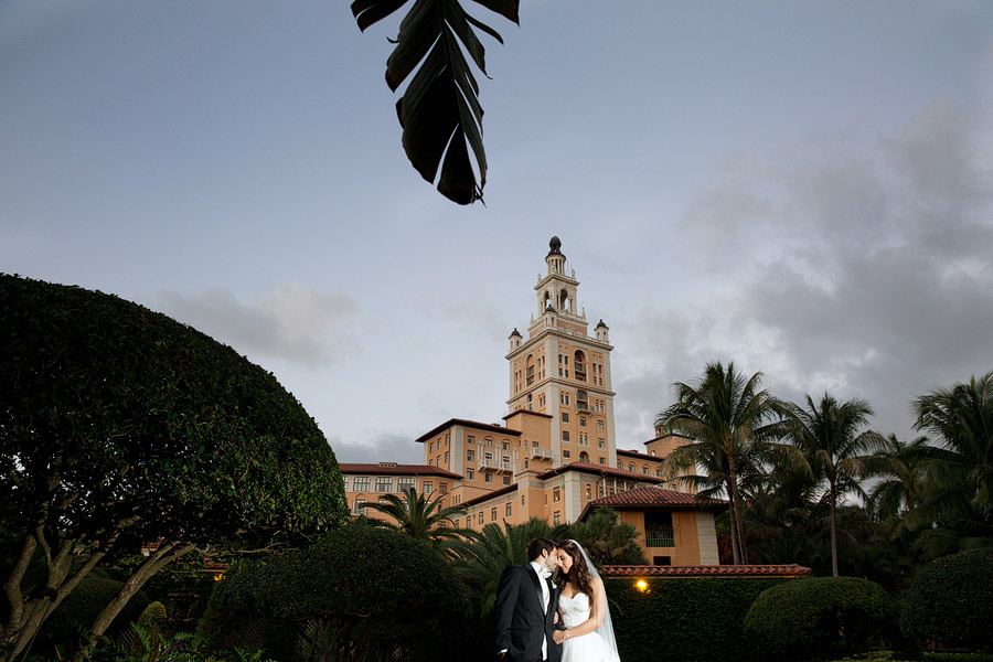A nighttime portrait at the Biltmore hotel in Coral Gables.