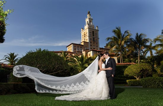 A veil blowing in the wind during a wedding at the Biltmore Hotel in Coral Gables.