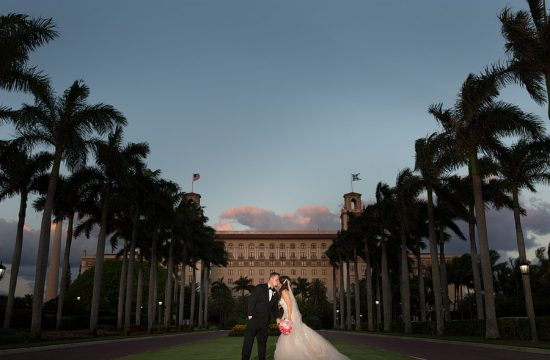 A night time portrait at the Breakers hotel in Palm Beach during a wedding.