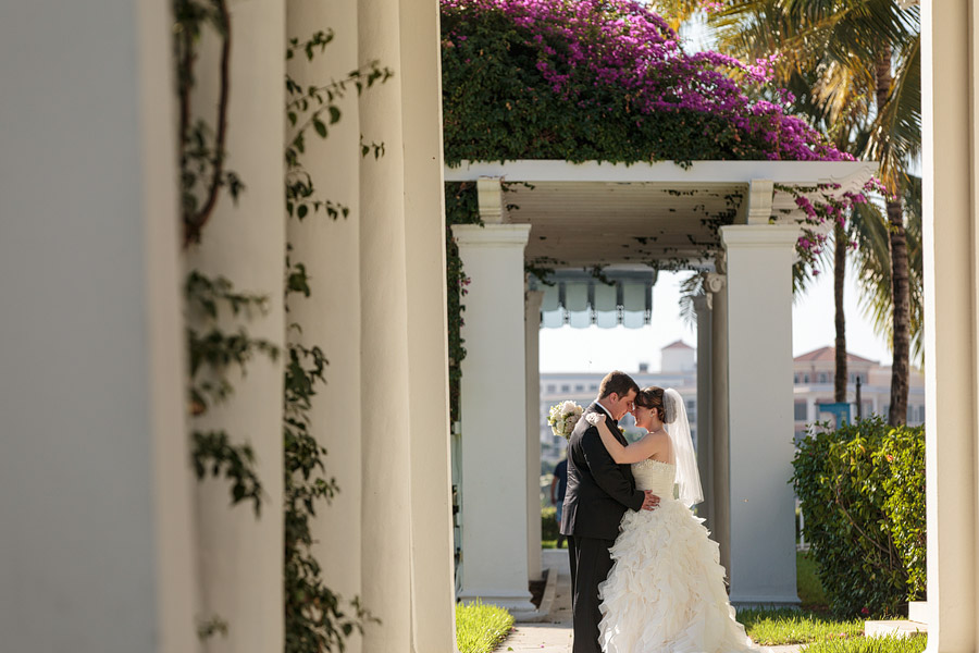 A ballgown wedding dress on a bride during her wedding at the Flagler Museum in Palm Beach.