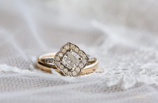 Vintage wedding ring at the Bath Club.