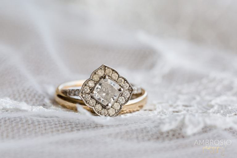 Vintage wedding ring at the Bath Club.