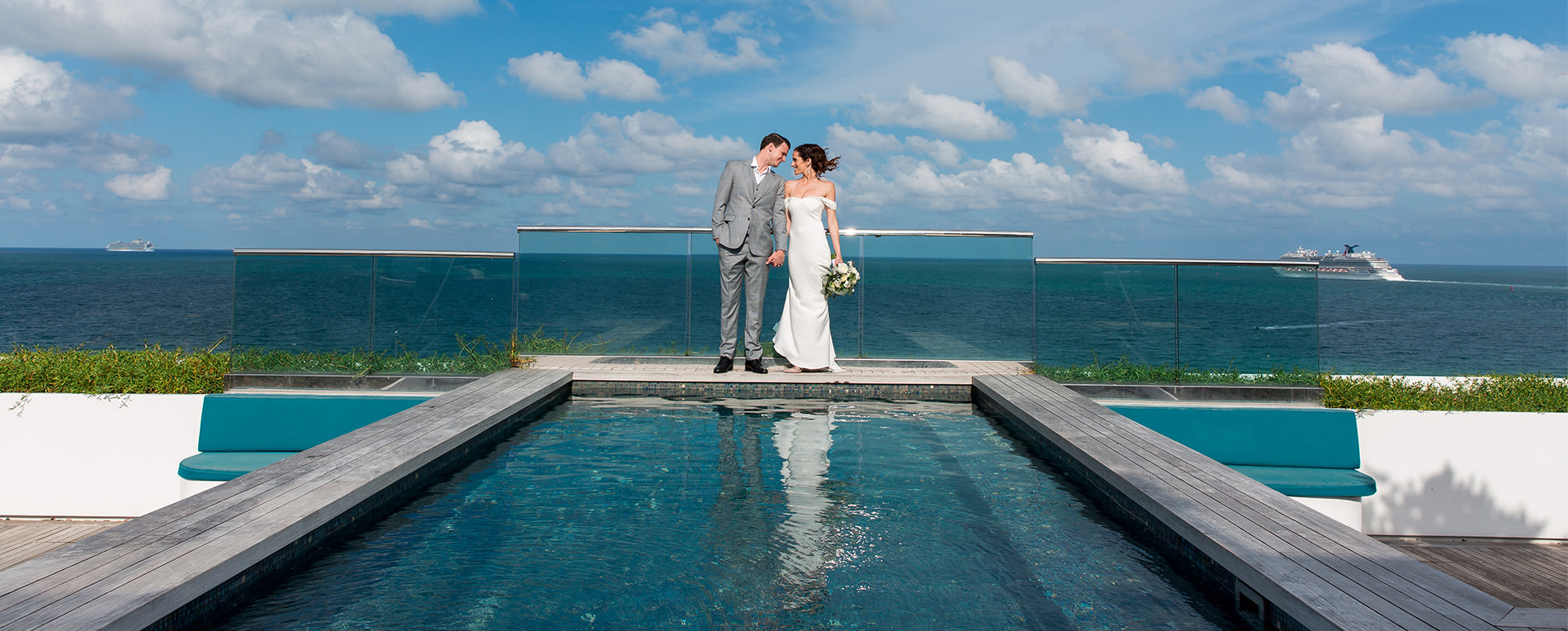 Bride and groom on the rooftop during their Miami Beach Wedding at the Hilton Hotel.