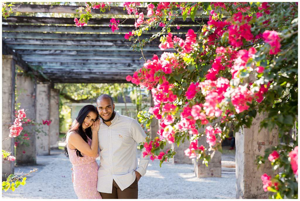 Bride and Groom at Prado Entrance in Coral Gables.
