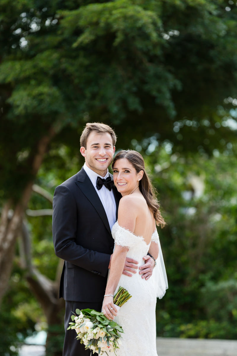 Portrait of a bride and groom during their wedding at the Ritz Carlton in Key Biscayne.