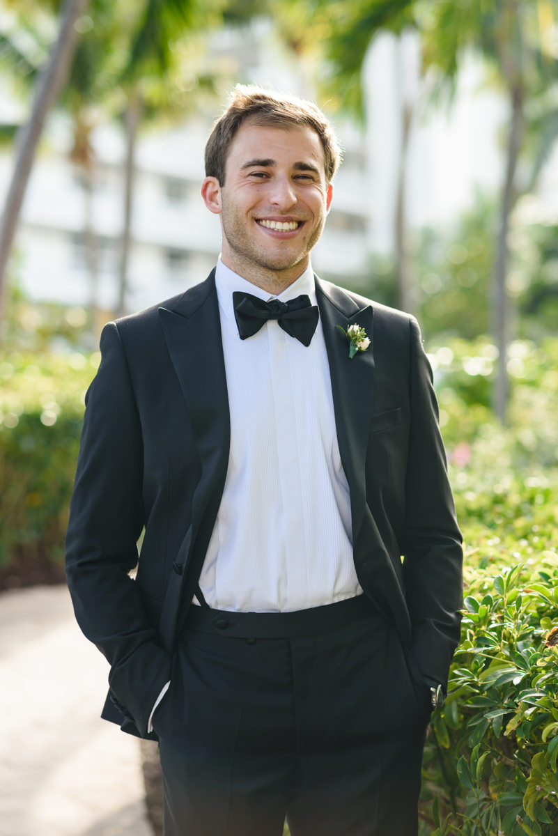 Groom portrait during a wedding at the Ritz Carlton in Key Biscayne.