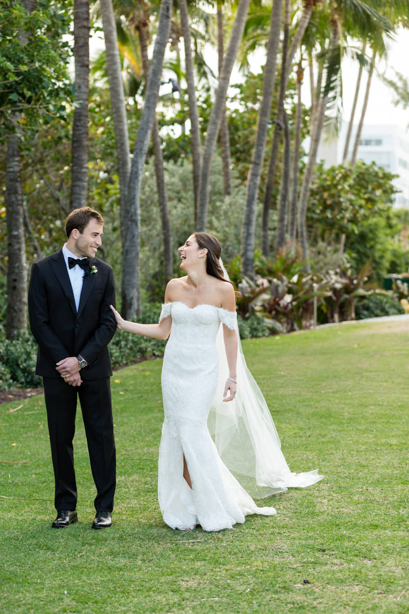 First look with a bride and groom during a wedding at the Ritz Carlton in Key Biscayne.