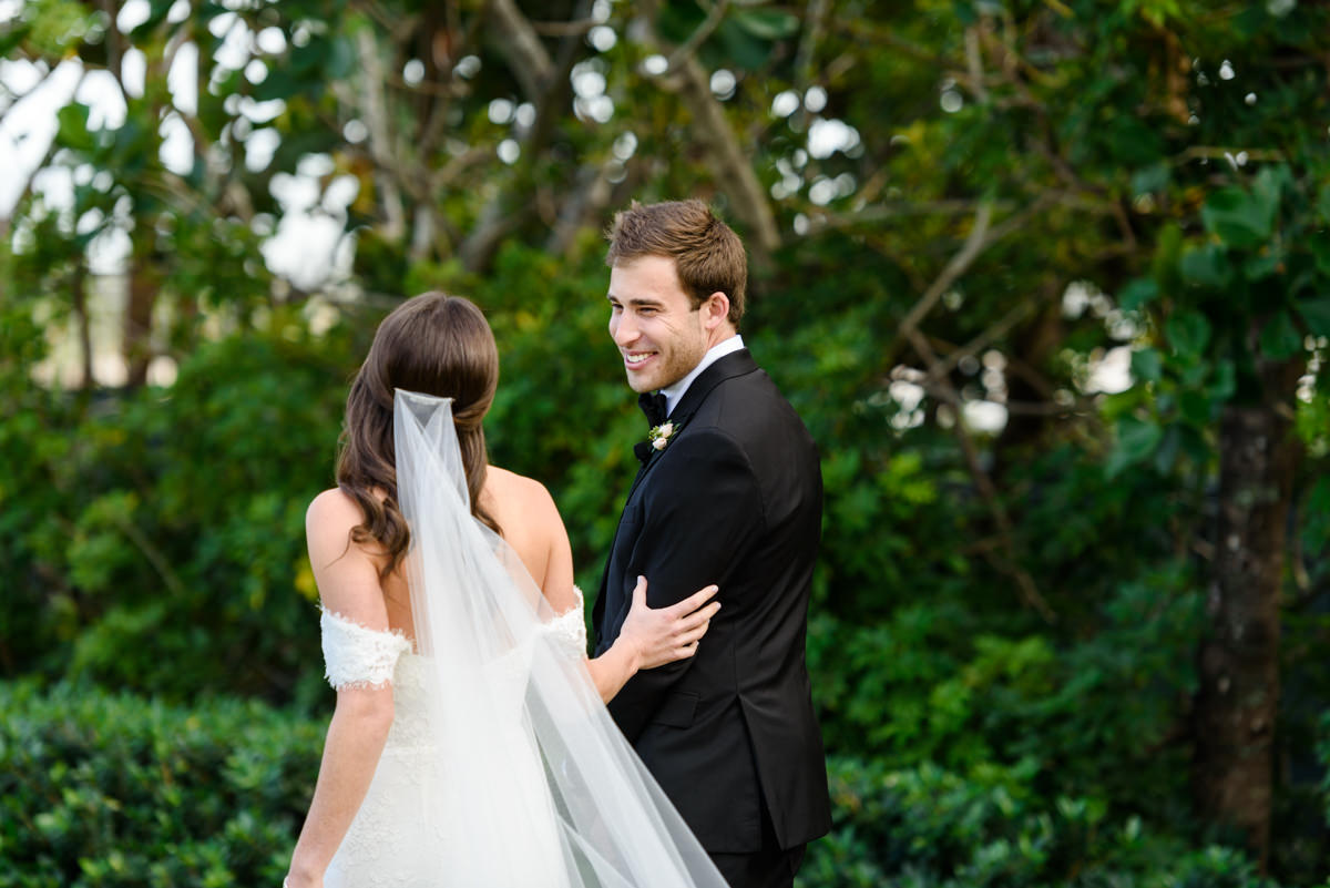 A first look with a bride and groom at the Ritz Carlton on Key Biscayne.