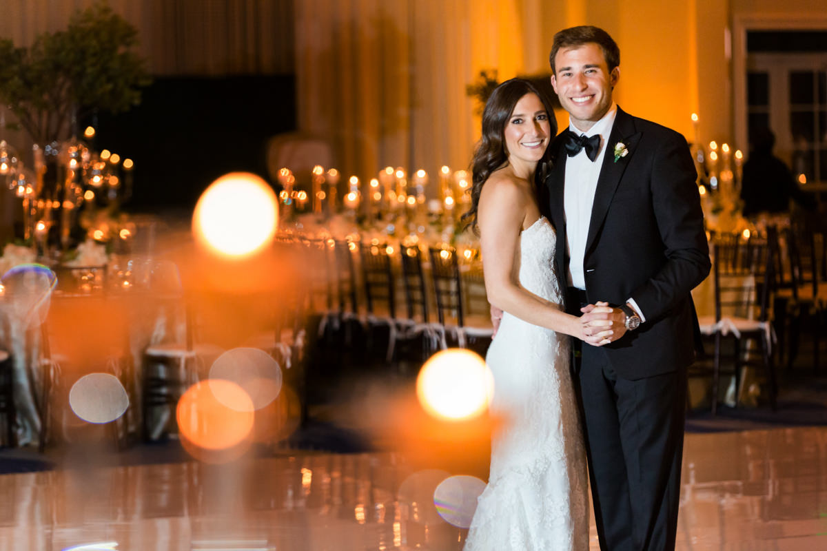 Bride and groom in the grand ballroom at the Ritz Carlton on Key Biscayne.