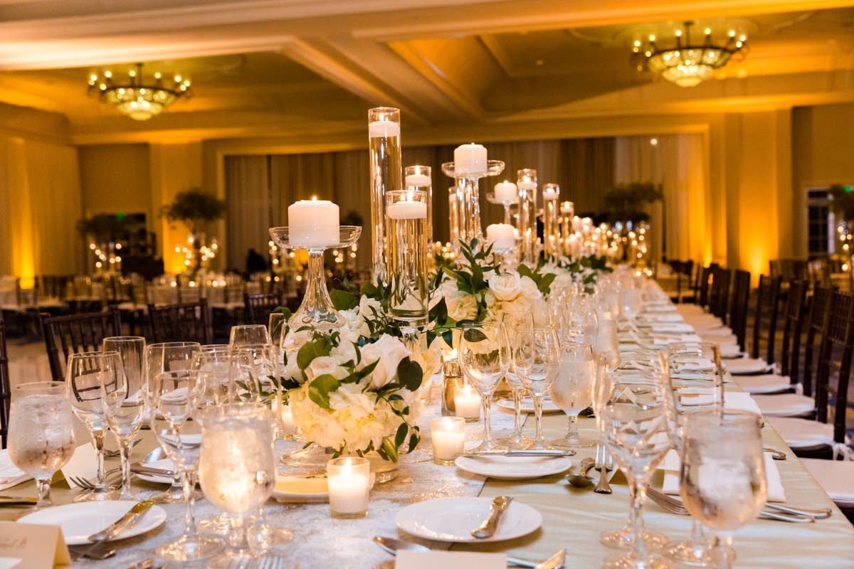 Candlelit wedding decor in the ballroom at the Ritz Carlton on Key Biscayne.