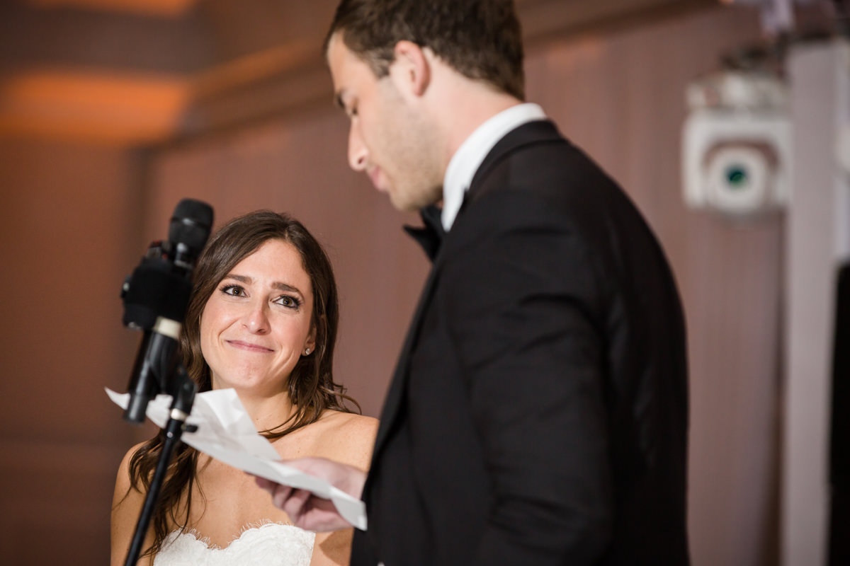 Groom gives toast to bride in the ballroom at the Ritz Carlton in Key Biscayne.