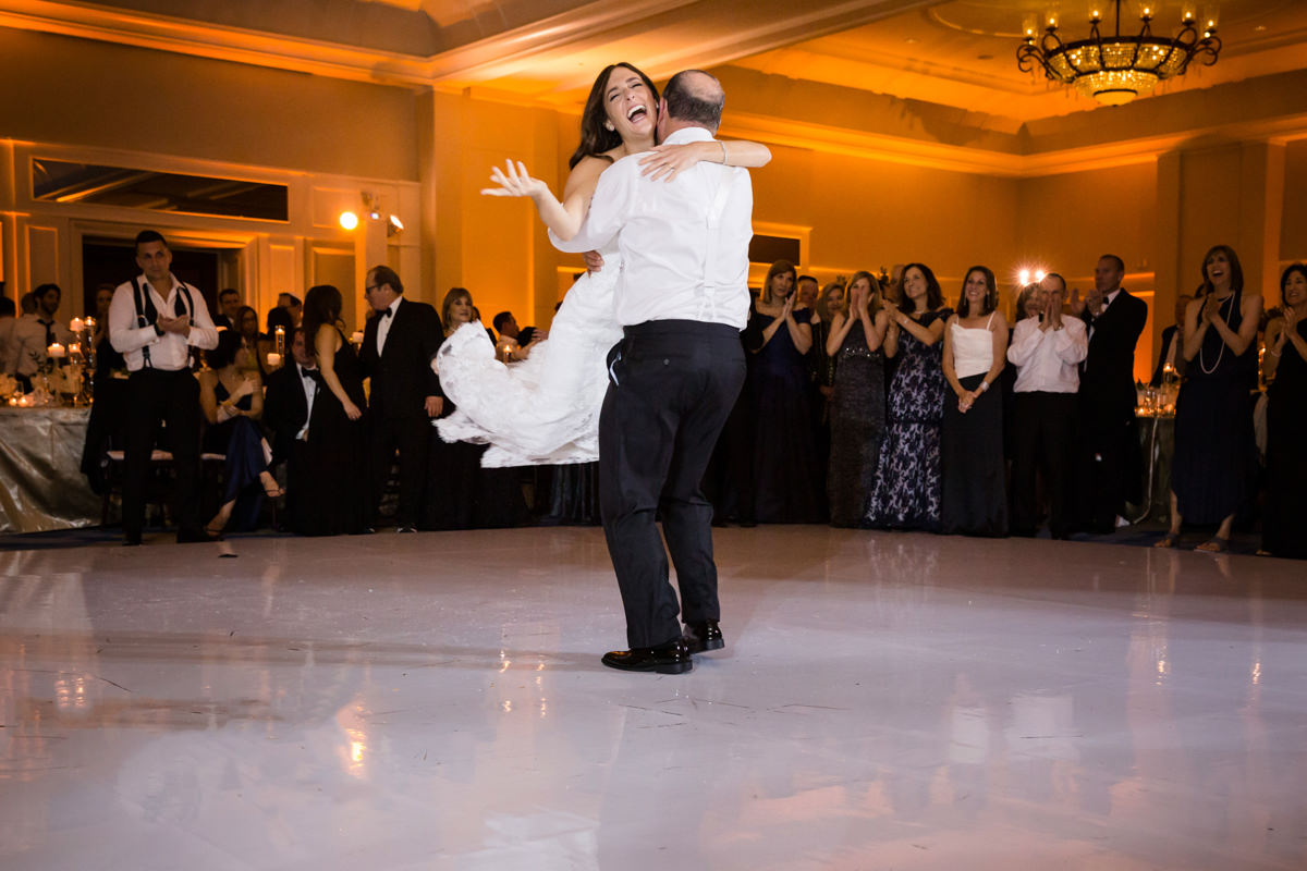 Father and daughter dance at a wedding at the Ritz Carlton in Key Biscayne.